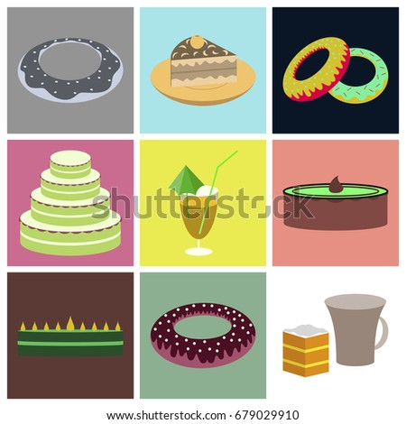 Set icons in flat design Cakes desserts