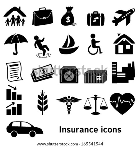 Set icons insurance. Vector illustration of different kinds of insurance. Can be used for infographics and typography, chart process the insurance company, business service steps options - stock vector