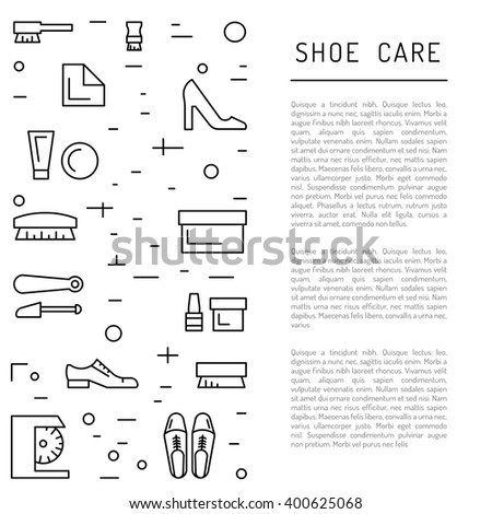 Set icons items for Shoe care. Elements for this service Shoe Shine. Outline Elements for shoe care - stock vector