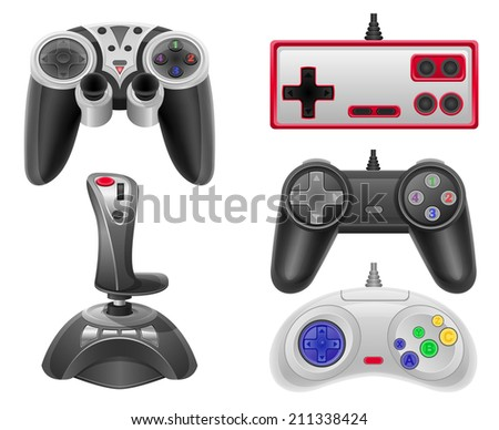 set icons joysticks for gaming consoles vector illustration EPS 10 isolated on white background - stock vector