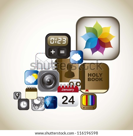set icons of apps, vintage style. vector illustration - stock vector
