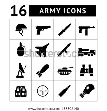 Set icons of army and military isolated on white. Vector illustration - stock vector