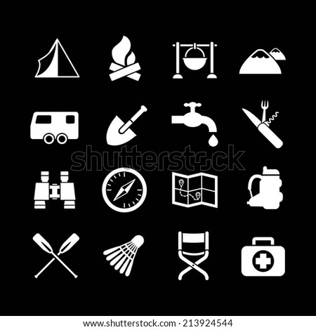 Set icons of camping isolated on black. Vector illustration