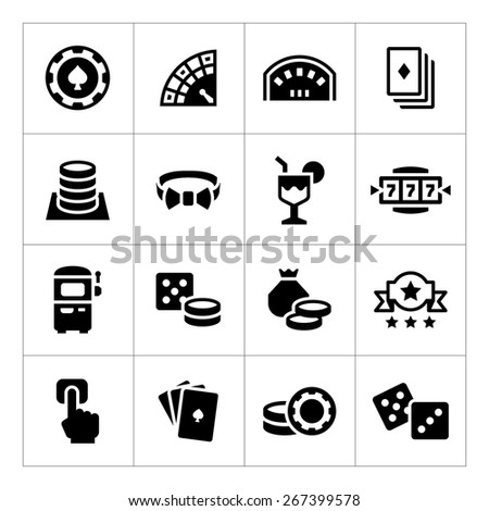 Set icons of casino isolated on white. Vector illustration - stock vector
