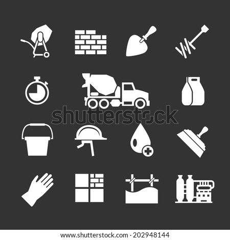 Set icons of cement and concrete isolated on black. Vector illustration