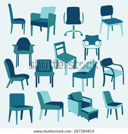 Set icons of chairs interior furniture collection in flat style-illustration - stock vector