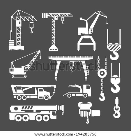 Set icons of crane, lifts and winches isolated on grey. Vector illustration - stock vector