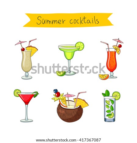 Set icons of different cocktails. Bright summer tasty alcoholic cocktails. Pina colada, tequila sunrise, margarita, mojito, coconut, cosmopolitan. Vector illustration on white background.