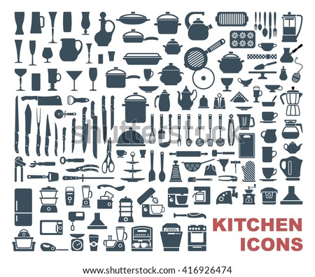 Set icons of dishware, utensils and kitchen appliances - stock vector