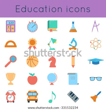 Set icons of education and school items. Colorful flat icons on white background. Vector illustration - stock vector