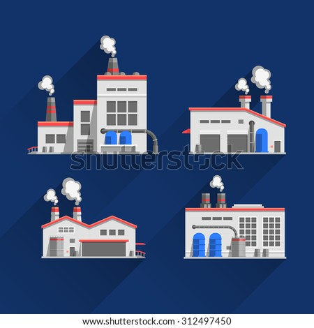Set icons of industrial buildings and factories isolated on blue background. Manufacture of products. Flat design illustration  - stock vector