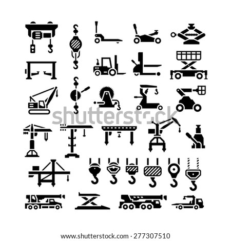 Set icons of lifting equipments, cranes, winches and hooks isolated on white. Vector illustration - stock vector