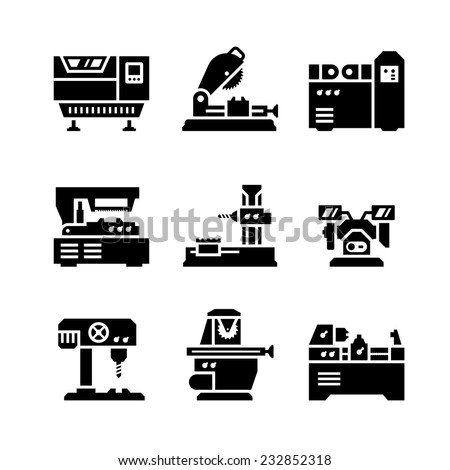 Set icons of machine tool isolated on white. Vector illustration - stock vector
