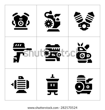 Set icons of motor and engine isolated on white. Vector illustration - stock vector