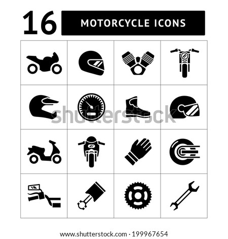 Set icons of motorcycle isolated on white. Vector illustration - stock vector