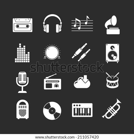 Set icons of music and sound isolated on black. Vector illustration - stock vector