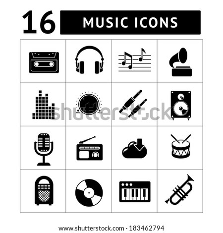 Set icons of music and sound isolated on white. Vector illustration - stock vector