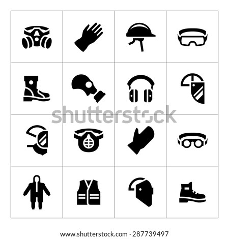 Set icons of personal protective equipment isolated on white. Vector illustration