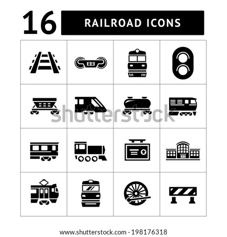 Set icons of railroad and train isolated on white. Vector illustration - stock vector
