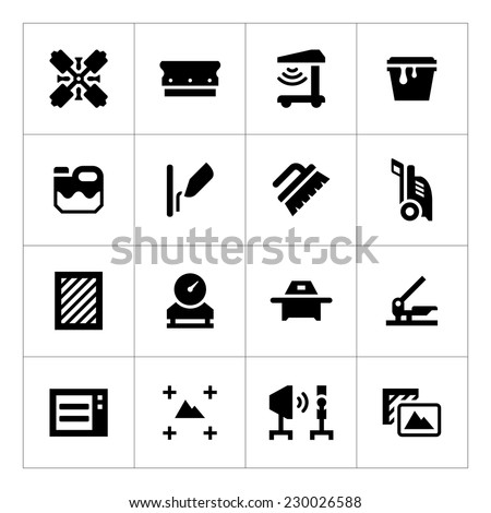 Set icons of screen printing isolated on white. Vector illustration - stock vector