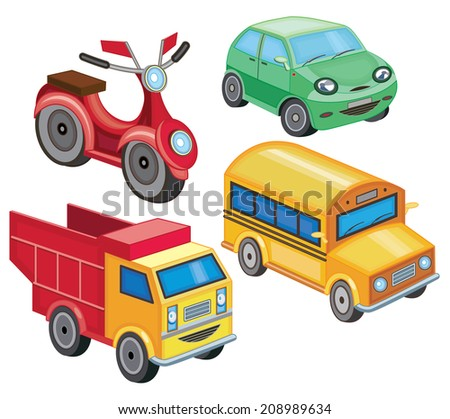 set icons of transport (vector illustration) - stock vector
