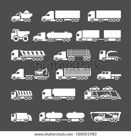 Set icons of trucks, trailers and vehicles isolated on grey. Vector illustration - stock vector