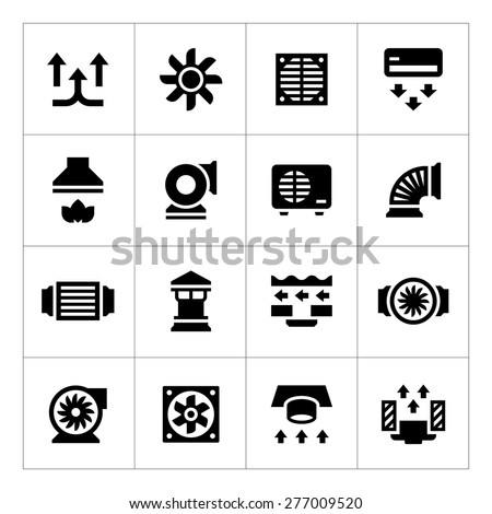 Set icons of ventilation and conditioning isolated on white. Vector illustration - stock vector