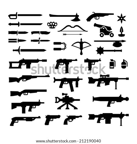 Set icons of weapons isolated on white. Vector illustration - stock vector