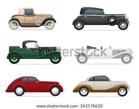 set icons old retro car vector illustration isolated on white background  - stock vector