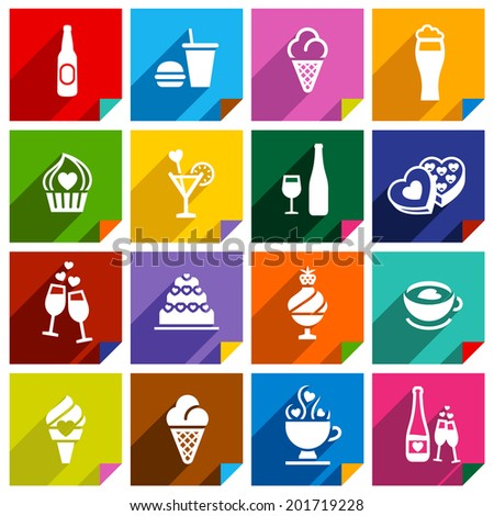 Set 16 icons on squares stickers, with bent colored angles, vector illustration for web applications - stock vector