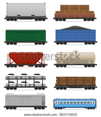 set icons railway carriage train vector illustration isolated on white background - stock vector