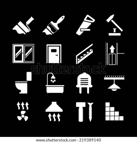 Set icons repair and building isolated on black. Vector illustration - stock vector