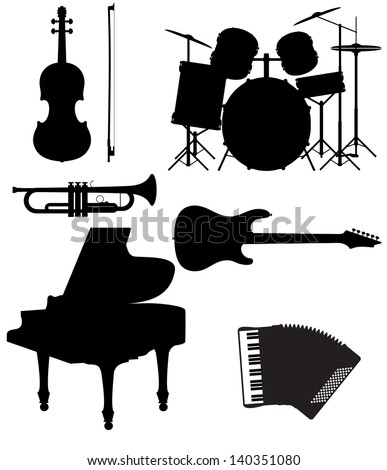 set icons silhouettes of musical instruments vector illustration isolated on white background - stock vector