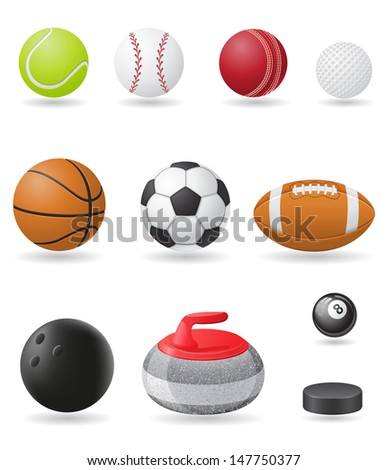 set icons sport balls vector illustration isolated on white background