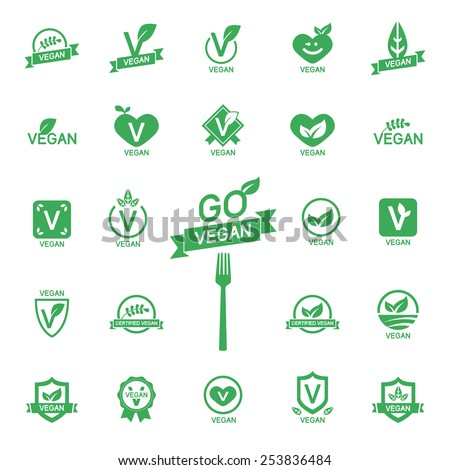 Set 24 Icons Vegan food, set of badges, emblems and stamps vector - stock vector