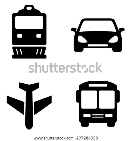 set icons with isolated black transport  silhouette - stock vector