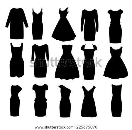 Set if black different shapes of evening ball cocktail dresses vector - stock vector