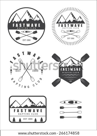 Set if vintage rafting logo, labels and badges - stock vector