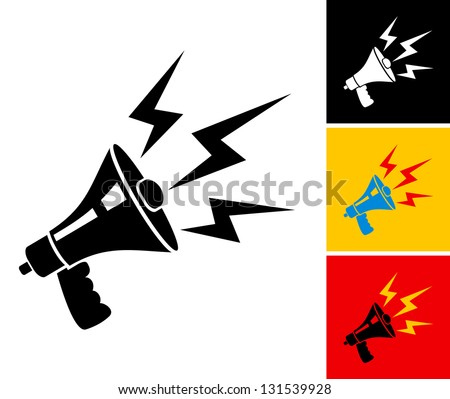 Set illustration of megaphone and lightning - stock vector