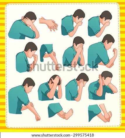 set illustration of muslim ablution position - stock vector