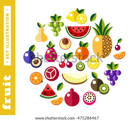 Set illustrations of fresh fruit