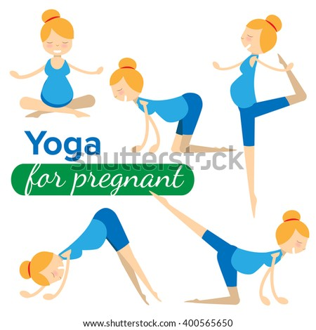 set illustrations of simple yoga poses for pregnant woman  - stock vector