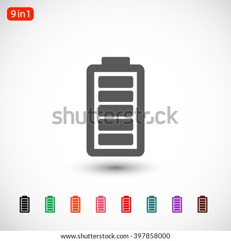 Set 9 in 1: gray Battery icon, black Battery icon, green Battery icon, orange Battery icon, pink Battery icon, red Battery icon, blue Battery icon, purple Battery icon, brown Battery icon - stock vector
