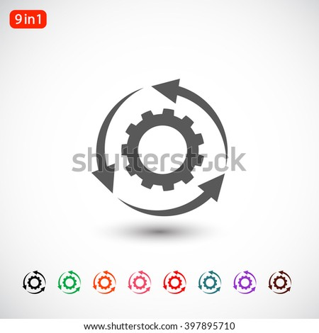 Set 9 in 1: gray change icon, black change icon, green change icon, orange change icon, pink change icon, red change icon, blue change icon, purple change icon, brown change icon - stock vector