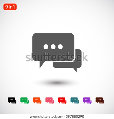 Set 9 in 1: gray Chat dialog icon, black Chat dialog icon, green Chat dialog icon, orange Chat dialog icon, pink Chat dialog icon, red Chat dialog icon, blue Chat dialog icon, - stock vector