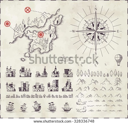 Set in medieval cartography - stock vector