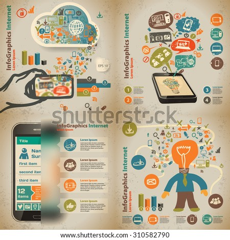Set infographic on the topic of digital technology in vintage style - stock vector