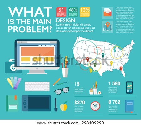 Set infographics in flat style. Vector illustrations about designer work, management, clients brief, design and communication. Use in website, corporate report, presentation, advertising, marketing - stock vector
