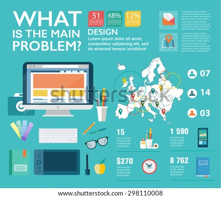 Set infographics in flat style. Vector illustrations about designer work, management, clients brief, design and communication. Use in website, corporate report, presentation, advertising, marketing