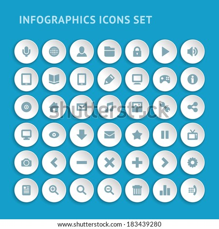 Set Infographics web icons or flat design elements. Vector illustration eps 10.  - stock vector